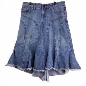 Younque Western Boho Prairie Denim Skirt Sz 9